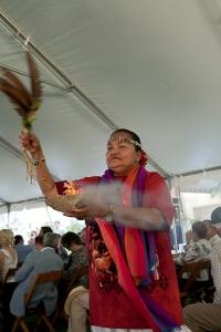 Carib Queen Catherine Hummingbird Ramirez performing a smoke ritual at the Miami Circle